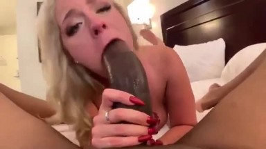 Blonde wife sucks and fucks anal with big black dick